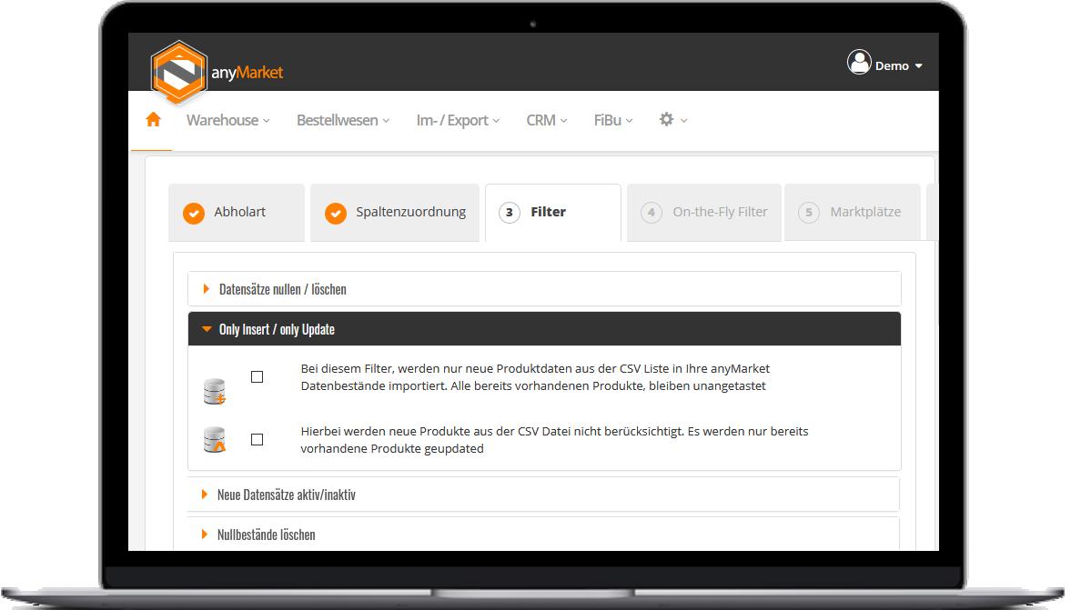 Daten-Import Filtereinstellungen