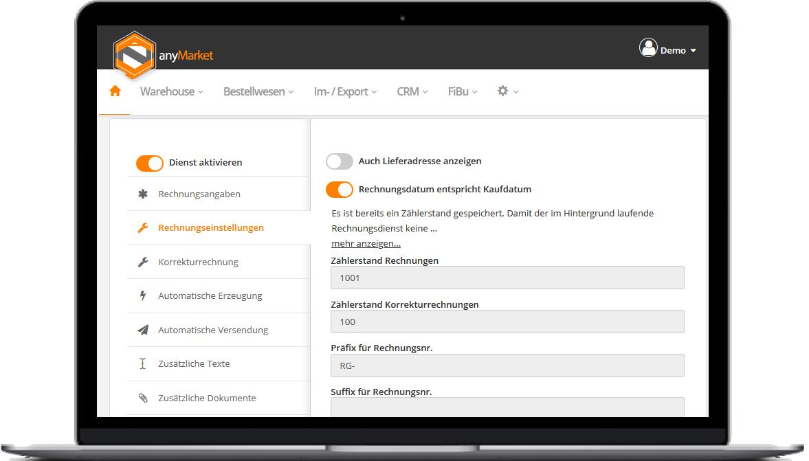 anyMarket Rechnungen & Co. Einstellungen